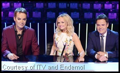 'Your Face Sounds Familiar' judges: regulars Julian Clary and Emma Bunton, and guest Donny Osmond
